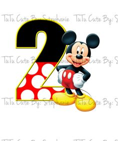 Mickey Mouse with Giant Number Iron On -digi file only- on Etsy, $3.00