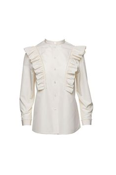 The Marc Jacobs Stretch Poplin Ruffle Blouse is made from cotton with a hint of spandex for added stretch. The top is flanked by two ruffle details, complete with long sleeves, a crew neck and a button closure on the front. 97% Cotton, 3% SpandexCountry of Origin: China