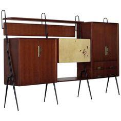 Vintage Italian Teak Wall Unit Sideboard Bookcase with Bar by Silvio Cavatorta Mirrored Sideboard, Teak Sideboard, Bookcase Bar, Modern Wall Units, Wall Desk, Wall Shelves Design, Mid Century Modern Design, Vintage Italian, Modern Materials