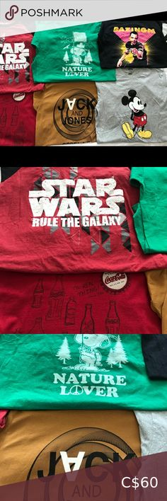 Graphic T shirt Lot size Large Shirts are in great condition lot contains 6 shirts. Big Bang theory,Coca Cola,Jack&jones,Snoopy,Mickey mouse and Star Wars Shirts Tees - Short Sleeve Tee Shirts, Tees, Jack Jones, Big Bang Theory, Bigbang, Coca Cola, Mickey Mouse, Star Wars, Snoopy