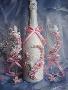 "Купить Свадебные бокалы ""Аиша"" - бледно-розовый, свадебные бокалы, бокалы для свадьбы, бокалы для молодоженов Recycled Jars, Recycled Glass Bottles, Painted Wine Bottles, Wine Glass Crafts, Wine Bottle Crafts, Bottle Painting, Bottle Art, Wrapped Wine Bottles, Wedding Toasting Glasses"