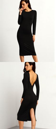 Slip into a sexy and classic black slim dress. Crafted in a round neck that stretches to a deep v-cut open back, fitted long sleeves and bodice,then finished with a center back slit.