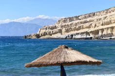 Beautiful beach in Matala/south Crete city where hippies were based in 60's