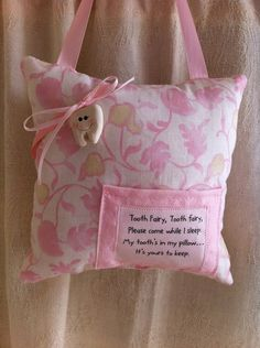 Tooth Fairy Pillow via Etsy. Love the little tooth charm (probably made of salt dough)! Tooth Pillow, Tooth Fairy Pillow, Quilting Projects, Sewing Projects, Pallet Projects, Crafty Craft, Crafting, Textiles, Sewing For Kids