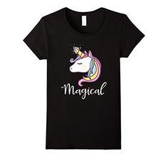 Womens Pastel Unicorn Magical Rainbow Shirt Small Black U...