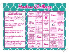 Hostess Challenge Game inspired by by HighCottonSouthernCo on Etsy, $8.00.. anyone who completesa card gets a free gift from me...