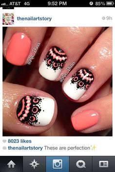 Coral, white and black lace nails