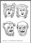 Greek masks coloring page 1.
