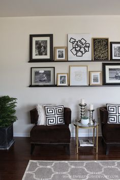 Picture Ledge Gallery Wall using shelves from IKEA