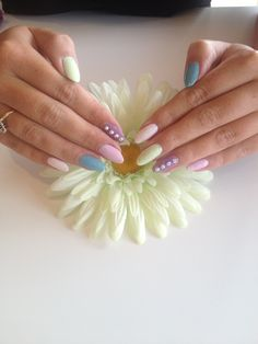 Pastel colours Shellac with Swarovski Crystal Detail. Nails and Beauty <3
