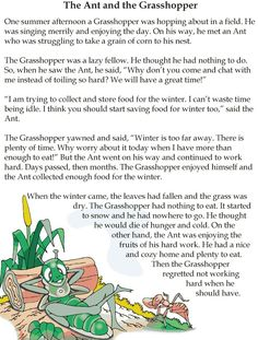 Grade 4 Reading Lesson 1 Fables And Folktales – The Ant And The Grasshopper Stories With Moral Lessons, English Moral Stories, Short Moral Stories, English Stories For Kids, Moral Stories For Kids, Learning English For Kids, Short Stories For Kids, English Story, Reading Stories
