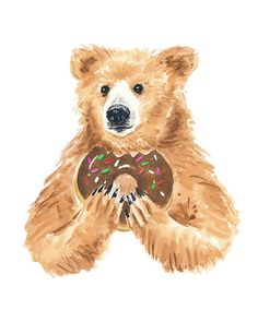 Grizzly Bear Watercolor PRINT - 11x14 PRINT, Bear Illustration, Nursery Art, Donut Watercolour