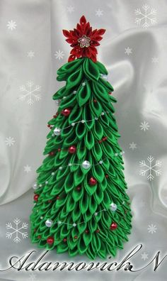 Fabric Christmas Trees, Christmas Ribbon, Christmas Minis, Christmas Crafts, Christmas Ornaments, Ribbon Crafts, Diy Crafts, Hand Painted Dishes, Quilted Ornaments