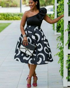 "ecstasymodels: ""Ruffled ShoulderBlack & White High Waist Midi Skirt Fashion By Sheque Style "" African Print Dresses, African Fashion Dresses, African Dress, African Prints, Ghanaian Fashion, African Attire, African Wear, African Women, Mode Outfits"