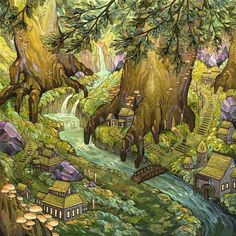Forest Falls Giclee Print Professionally printed on archival Epson Hot Press paper Image size: 10 x 10 Paper Size: 12 x 12 inches © Nicole Gustafsson 2015 Each print is signed and numbered Art And Illustration, Fantasy Landscape, Fantasy Art, Forest Falls, Psy Art, Poses References, Oeuvre D'art, Les Oeuvres, Art Inspo