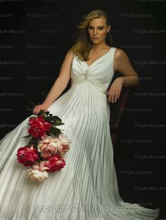 Ball Gown V-neck Pleating Organza Chapel Train Wedding Dress...addsleeves