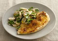 Pecorino-Crusted Chicken with Mushroom Salad - http://www.bonappetit.com/recipes/quick-recipes/2012/04/pecorino-crusted-chicken-with-mushroom-salad