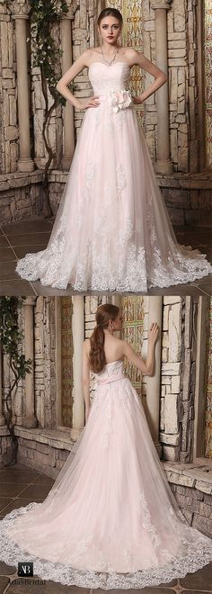 Elegant tulle sweetheart neckline lace appliques a-line wedding dresses. Dream big in this brilliant wedding gown. (WWD62720) - Adasbridal.com
