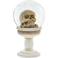 White White Skull Pedestal Snow Globe (£15) ❤ liked on Polyvore featuring home, home decor, holiday decorations, white home accessories, skull home decor, skull head home decor, snow white snow globe and skull home accessories