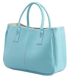 Generic Women's Wide Blue Leather Handbag Medium >>> This is an Amazon Associate's Pin. Find out more about the great product at the image link.
