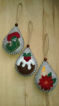 Questi tre ornamenti feltro renderebbe una decorazione albero festivo ideale. Ognuno è progettato e fatto a mano da me in feltro morbido,