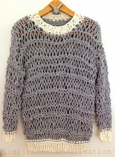 inspiration and realisation: DIY fashion blog: DIY open knit sweater with t-shirt yarn