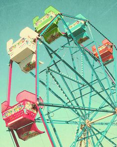 "Ferris Wheel Photograph - ""End of Summer""- Fine Art Photograph 8 x 10 Metallic Vintage Feel Distressed Summer Fair Carnival Photo"