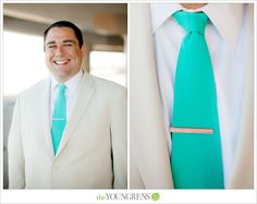 Teal Blue-Green Tie with White Tuxedo