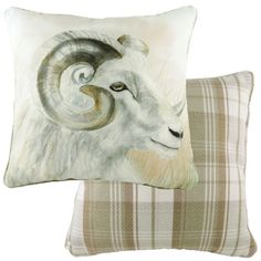 Watercolour Ram Piped Cushion - A Bentley Cushions Watercolor Animals, Watercolour, Spindle Chair, Sheep And Lamb, Printed Cushions, Novelty Socks, Seat Pads, Cushion Pads, Evans