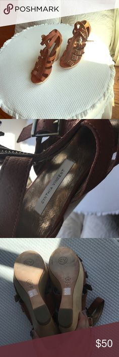 Cynthia Vincent wedge shoes. Never worn Never worn Cynthia Vincent strap and zipper wedges. Super cute Cynthia Vincent Shoes Wedges