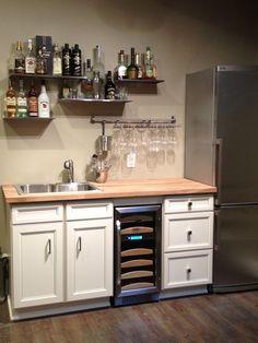 Basement bar metal shelves