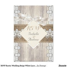 RSVP Rustic Wedding Beige White Lace Wood AB Card RSVP Rustic Wedding, Light Beige White vintage lace and Wood and burlap hessian, Country Marriage, Hessian Invitation hessian wedding.