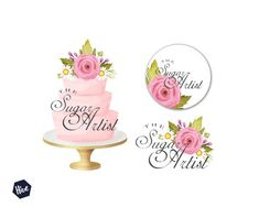 Tiered wedding cake logo Watercolor cake by TheDigitalPaperHive