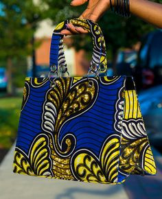 Royal Butterfly African Wax Print Tote
