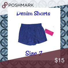 Denim SHORTS - NWT NWT. DENIM SHORTS WITH ELASTIC WAISTBAND. String tied in a bow in front for looks. Pockets in front. Bottoms Shorts