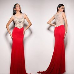 Red Beaded Mermaid Prom Dresses Party Evening Gown Dress