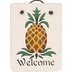 """KimsCrafts Welcome Collection Handmade in Maine Stenciled 6""""x8"""" Slate Small Pineapple Sign"""