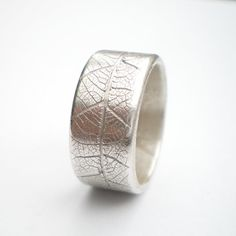 Silver Leaf Wide Ring Silver Wedding Ring by AliBaliJewellery, $105.00
