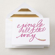 letterpress jingle all the way foldover holiday cards