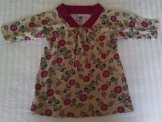 Tea Collection Baby Girl Dress 6-12M Tan Burgundy Red Green Floral Long Sleeves #TeaCollection #Casual