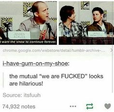 We are fudged Supernatural Actors, Castiel, Funny Memes, Hilarious, Jared And Jensen, Jensen Ackles, Super Natural, Superwholock, Tv