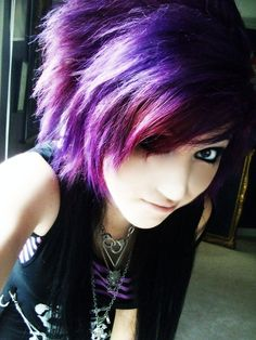 Cute short/long scene hair, but I think I'd have pink and purple or blue or something instead of JUST purple. :D