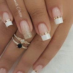 99 Charming Winter Nail Design And Color Ideas – wedding nails - LastStepPin French Nails, Glitter French Tips, Glitter French Manicure, Bridal Nails Designs, Wedding Nails Design, Pretty Nails, Fun Nails, Prom Nails, Nagellack Design