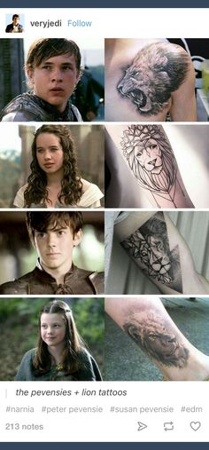 A variety of Aslan tattoos, inspired by The Chronicles of Narnia, written by C. S. Lewis #literarytattoos http://writersrelief.com/