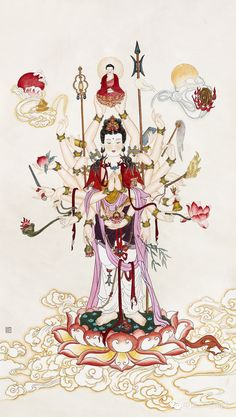 Om Mani Padme Hum, Chinese Buddha, Chinese Art, Tibetan Art, Buddha Art, Guanyin, Chinese Painting, Gods And Goddesses, Religious Art