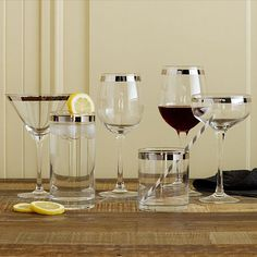 This Banded Glassware Set ($40 for a set of four) from West Elm mimics the metallic rimming but includes highball and wine options too.