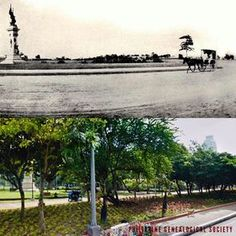 Dito, Noon: Legaspi-Urdaneta Monument, Manila, 1903 x 2020 #kasaysayan  — The monument stood near the shores of Manila Bay when it was first erected.  It now faces the reclaimed land where Manila Hotel stands. Present Day, Manila, Philippines, Country Roads, Faces, Journey, The Face, The Journey, Face
