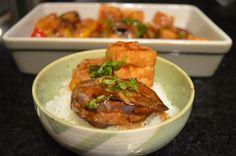 Eggplant, tofu and peppers stuffed with pork and prawn. Zucchini Squares, Tofu Dishes, Tempeh, Dim Sum, Prawn, The Dish, Eggplant, Pork, Beef