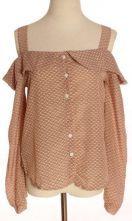 Pink Spaghetti Strap Long Sleeve Chiffon Shirt $27.52