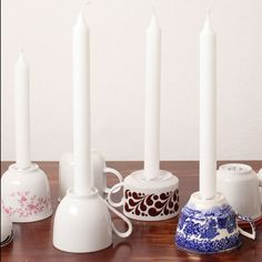 cups turned upside down with candle